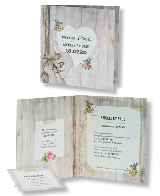 """Faire-part de mariage """"Bois, Cœurs et Oiseaux"""" 106034"""