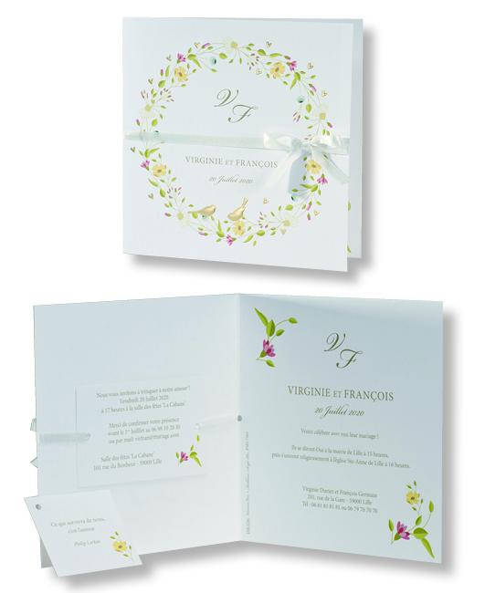 """Faire-part de mariage """"Couronne de Fleurs"""" 106036"""