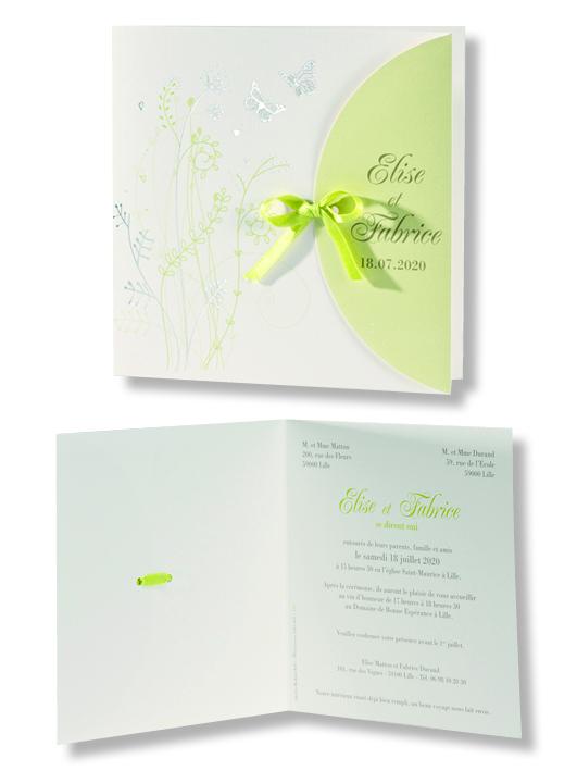 """Faire-part de mariage """"Champêtre"""" 106070"""