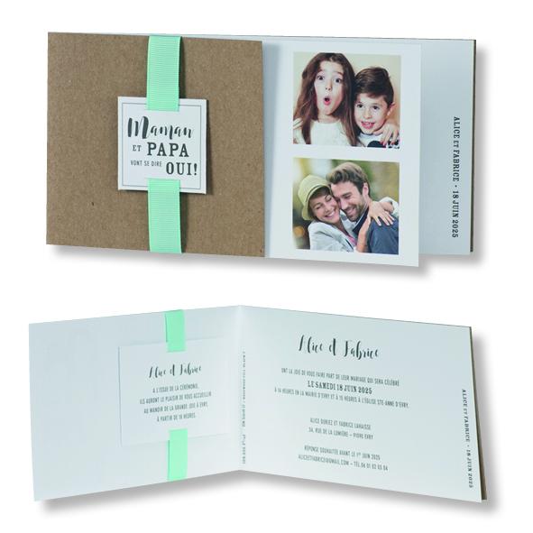 "Faire-part de mariage ""Kraft avec Ruban Vert d'Eau"" 108032"
