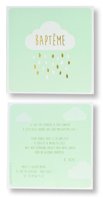 "Carte de baptême ""Verte et Nuage"" 577326"