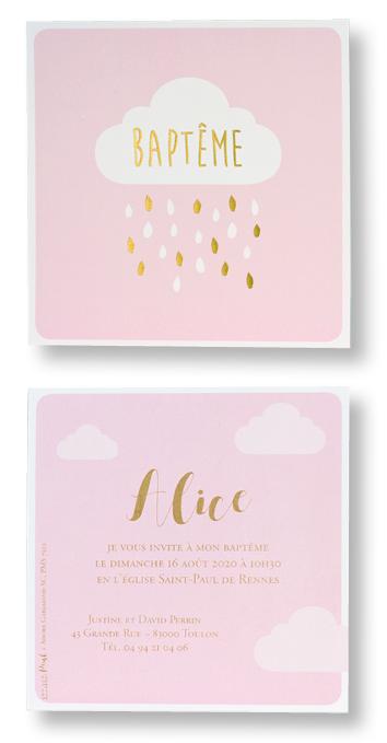 """Carte de baptême """"Rose et Nuage"""" 577327"""