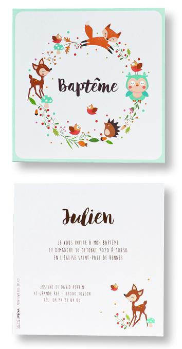 """Carte de baptême """"Animaux de la Forêt"""" 577392"""