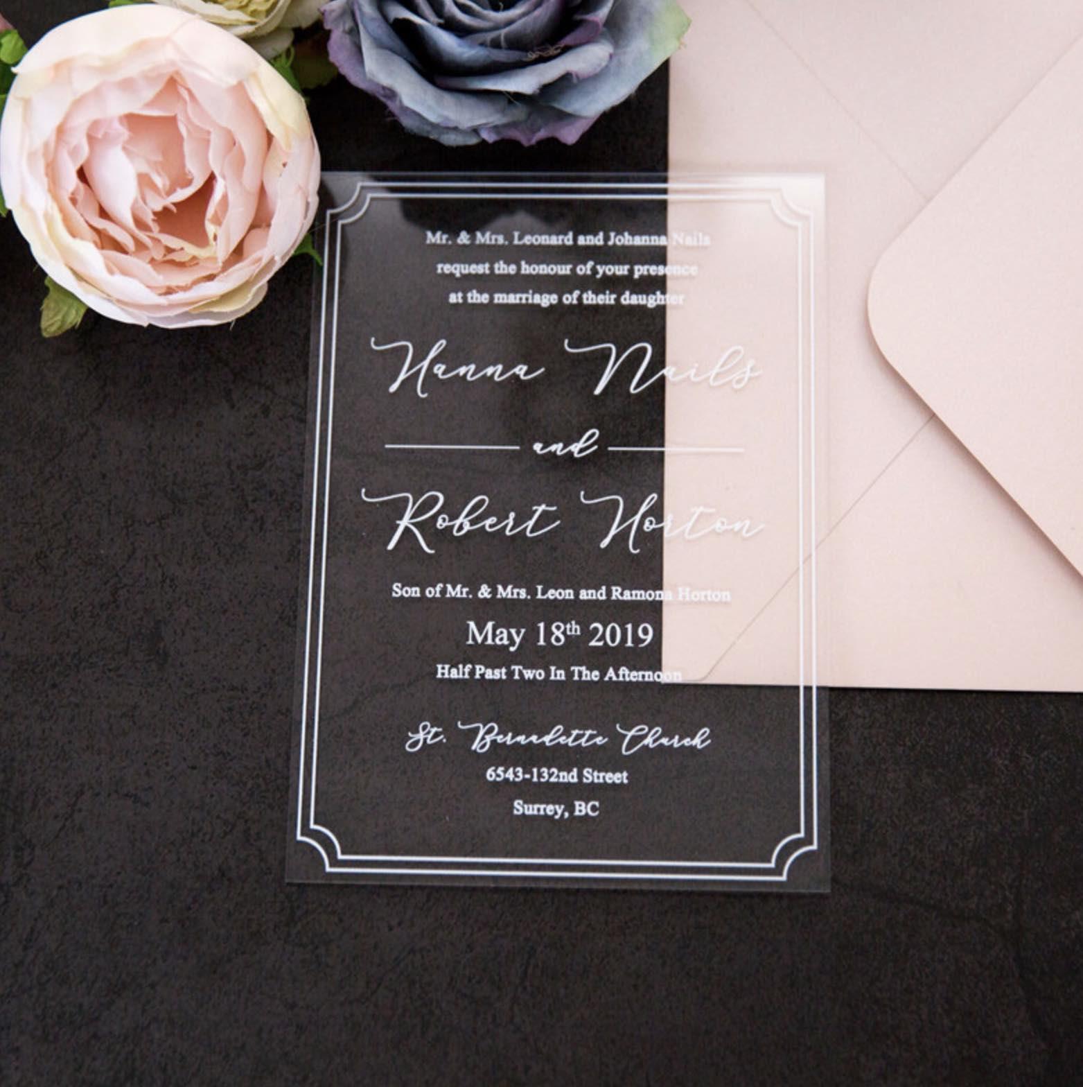 Faire-part de mariage en plexiglass transparent impression UV ACR03