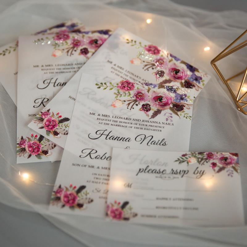 Cartes d'invitation mariage en papier sulfurisé impression UV CUPT05