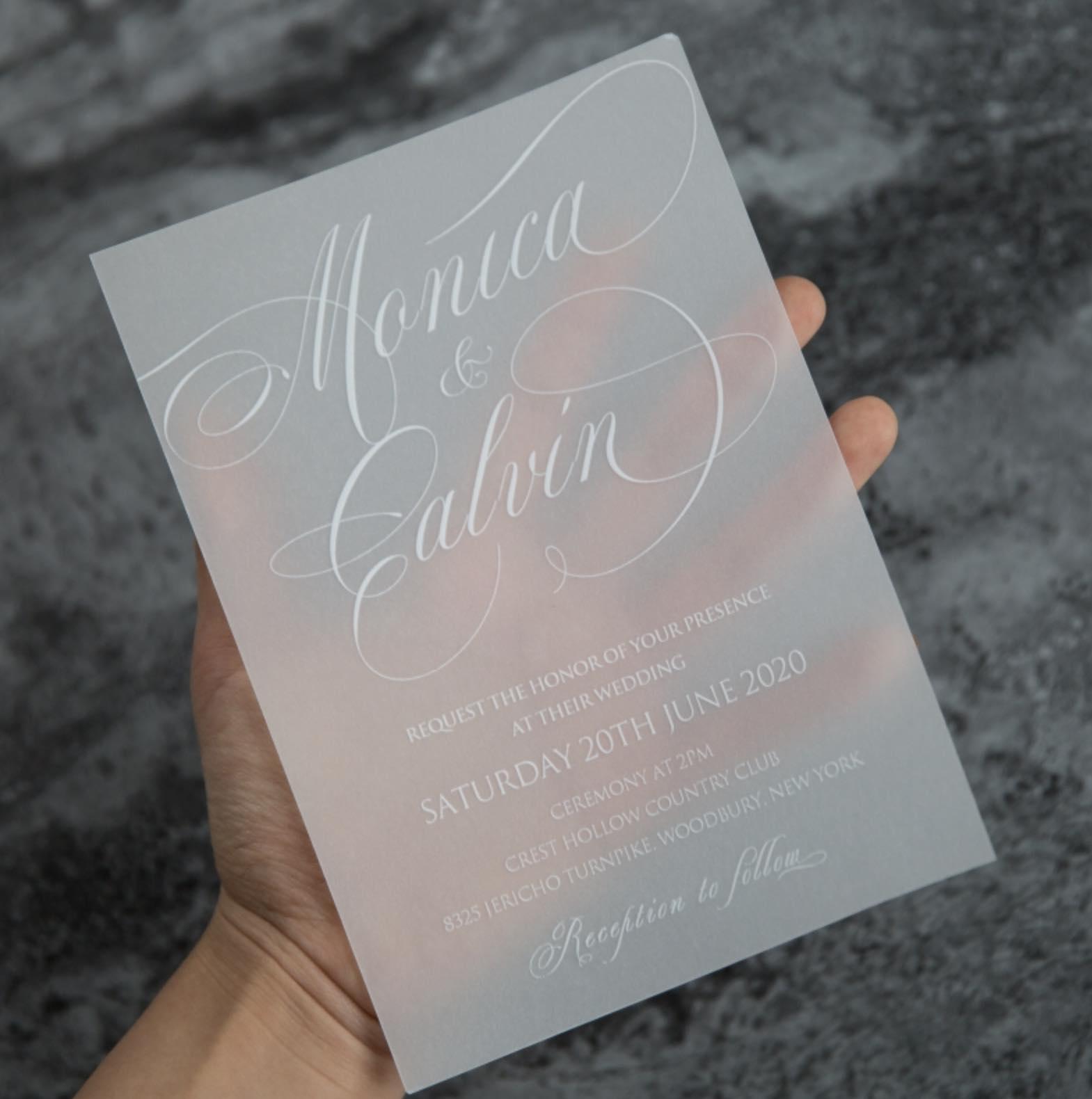 Carte d'invitation mariage en papier sulfurisé impression UV CUPT06