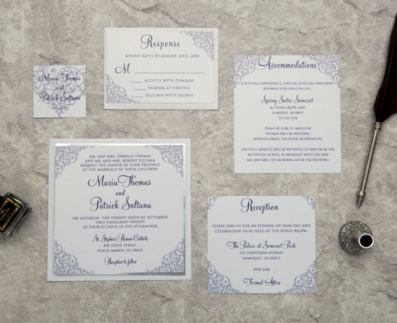 Cartes d'invitation mariage impression UV CUPT08