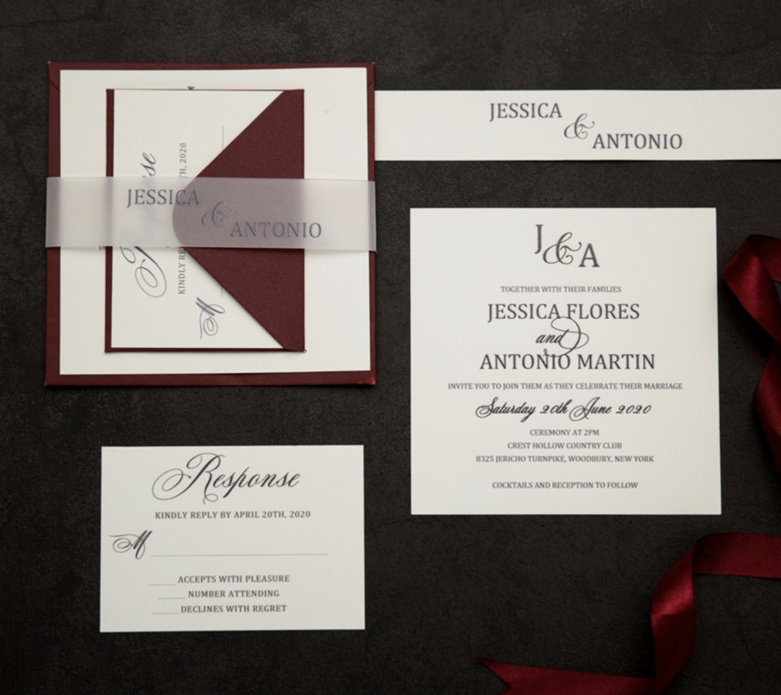Cartes d'invitation mariage impression UV CUPT09