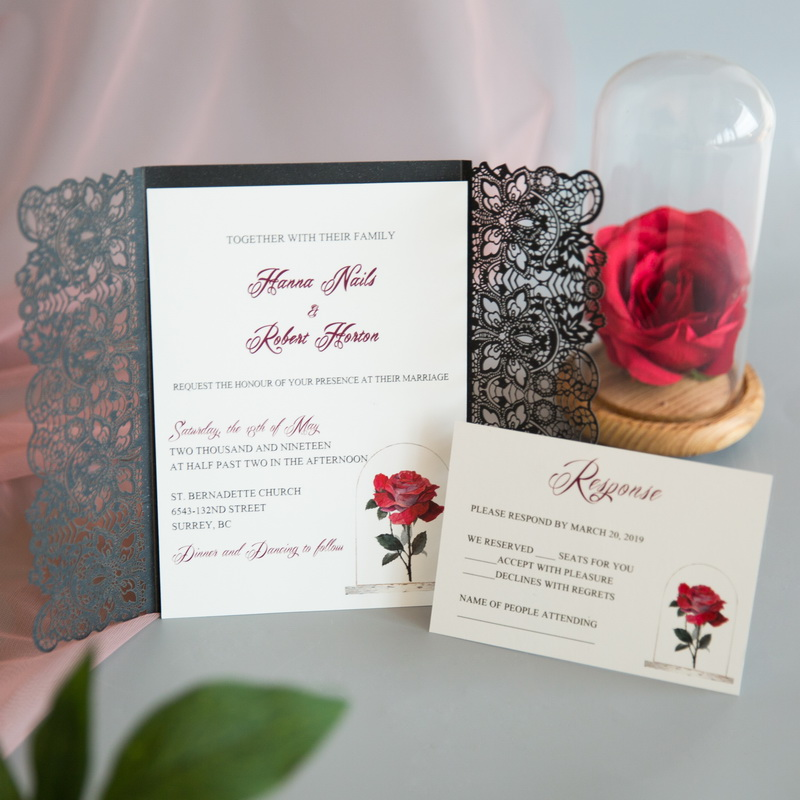Cartes d'invitation mariage impression UV CUPT10