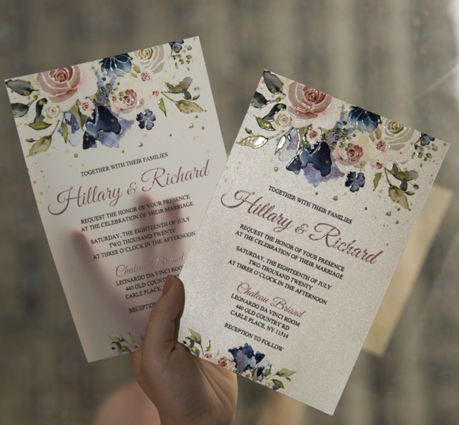 Cartes d'invitation mariage impression UV CUPT12