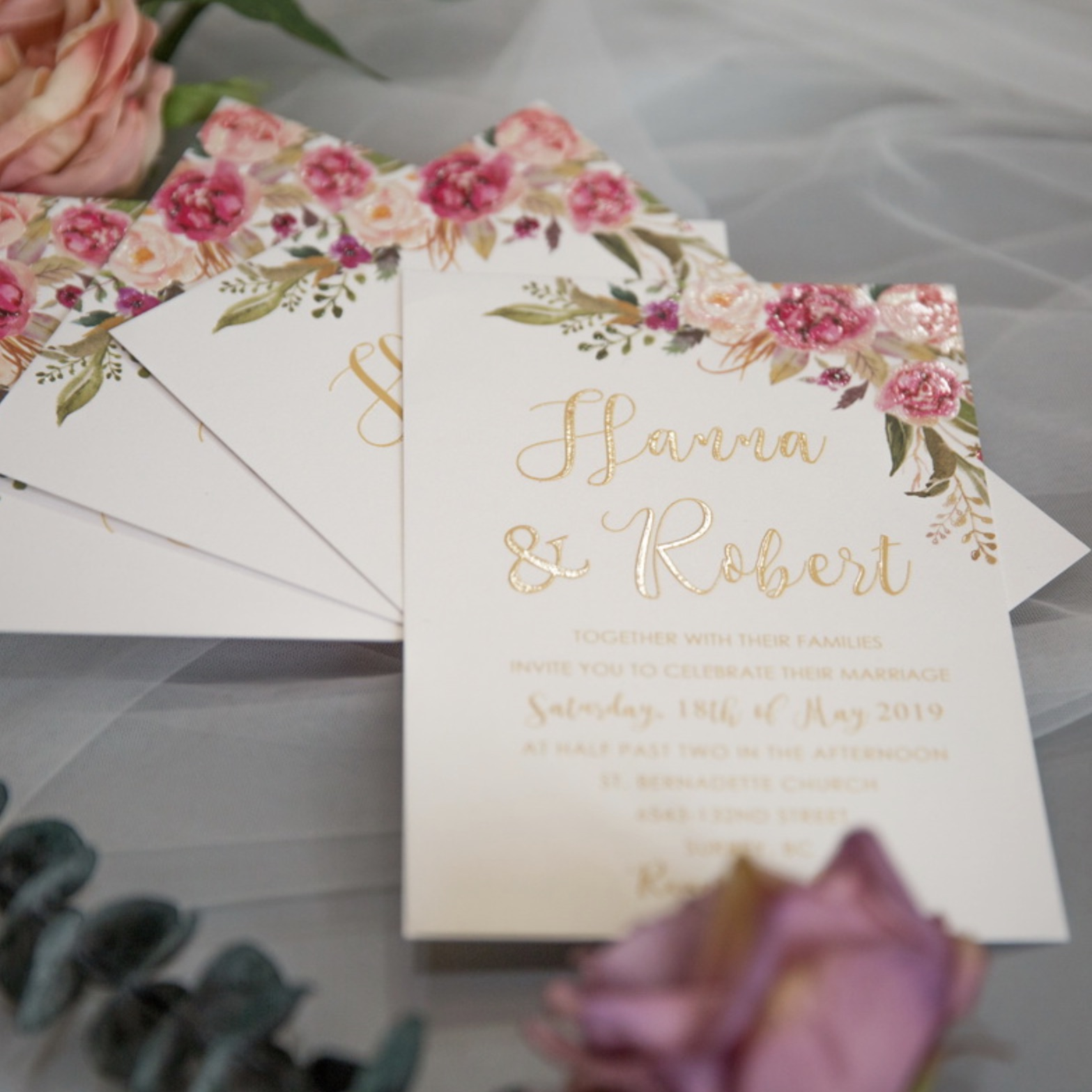 Cartes d'invitation mariage impression UV CUPT13