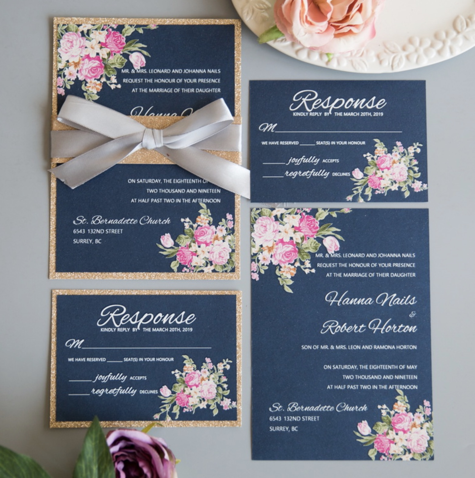 Cartes d'invitation mariage impression UV CUPT15