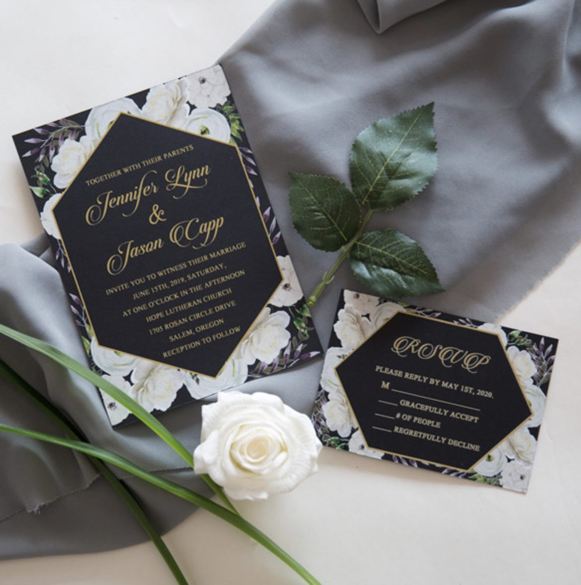 Cartes d'invitation mariage impression UV CUPT20