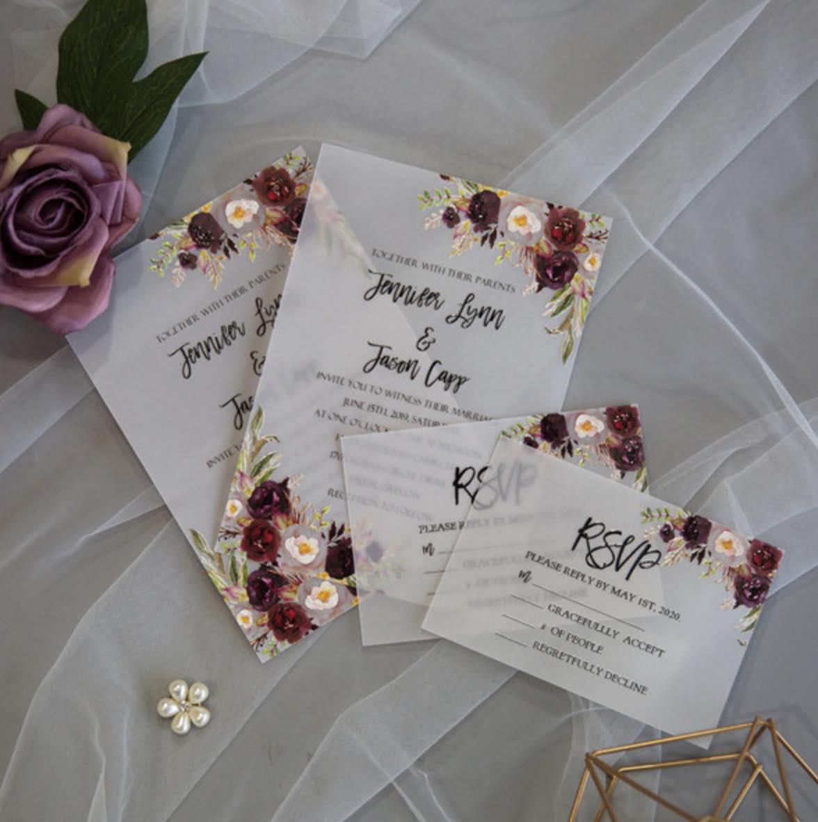 Cartes d'invitation mariage en papier sulfurisé impression UV CUPT21