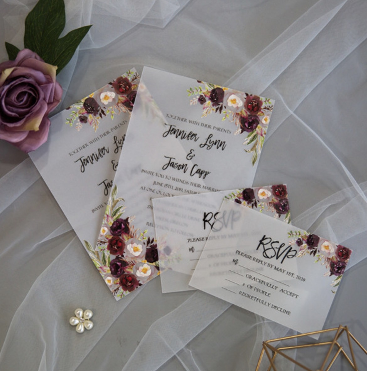 Cartes d'invitation mariage impression UV CUPT21