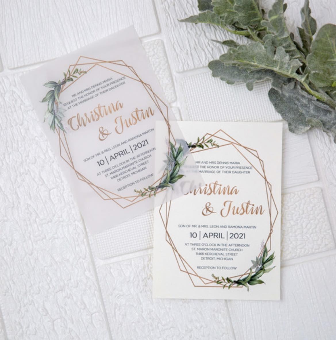 Cartes d'invitation mariage en papier sulfurisé impression UV CUPT23