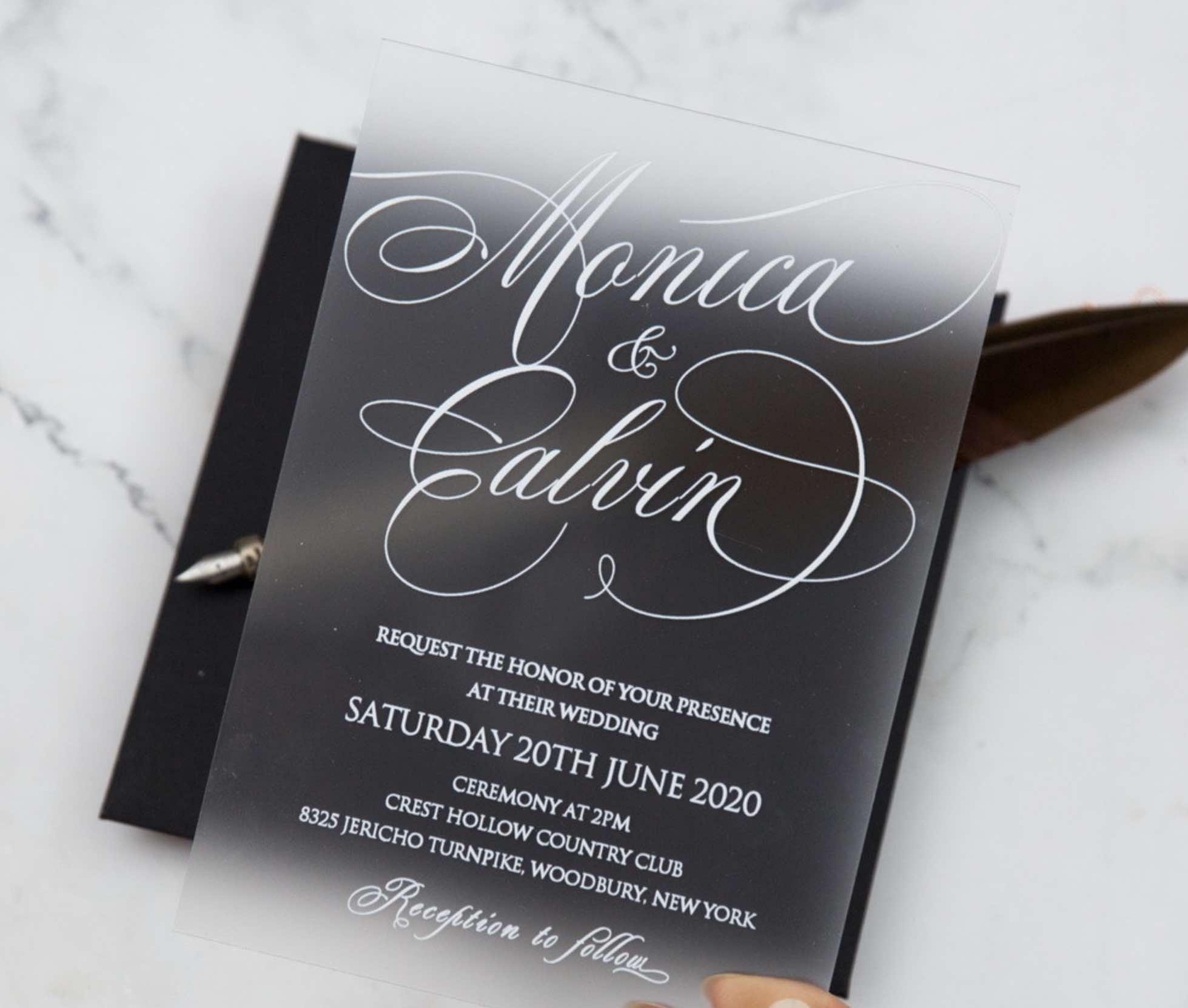 Faire-part de mariage en plexiglass opaque impression UV FACR01