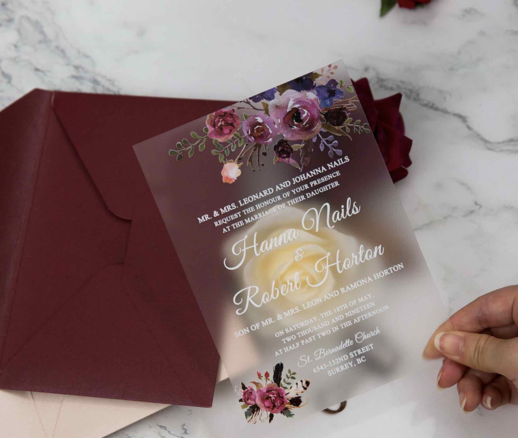Faire-part de mariage en plexiglass opaque impression UV FACR03