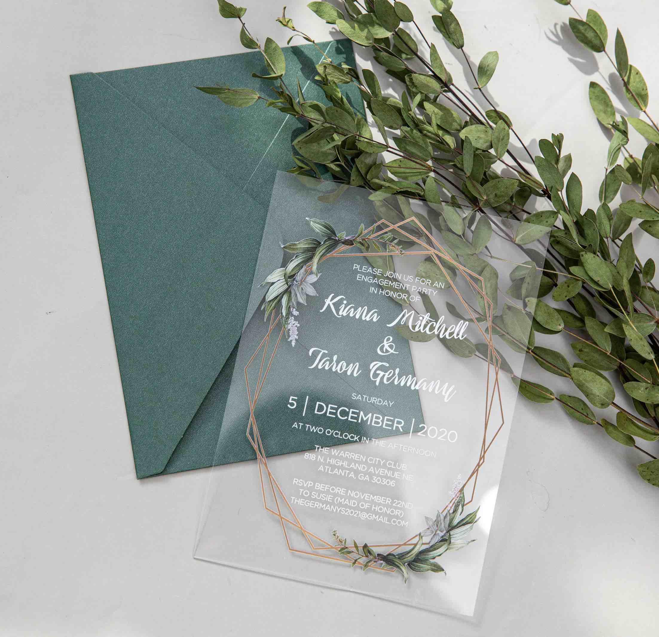 Faire-part de mariage en plexiglass transparent impression UV ACR12