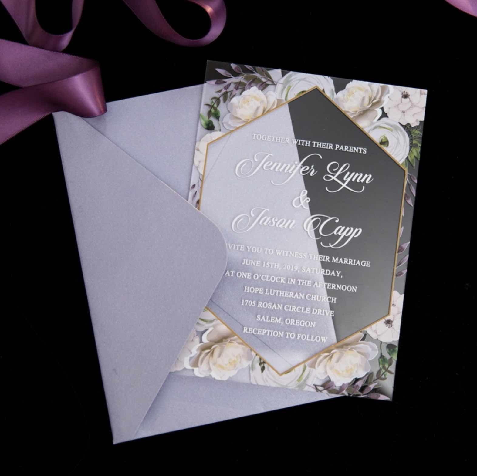 Faire-part de mariage en plexiglass transparent impression UV ACR14