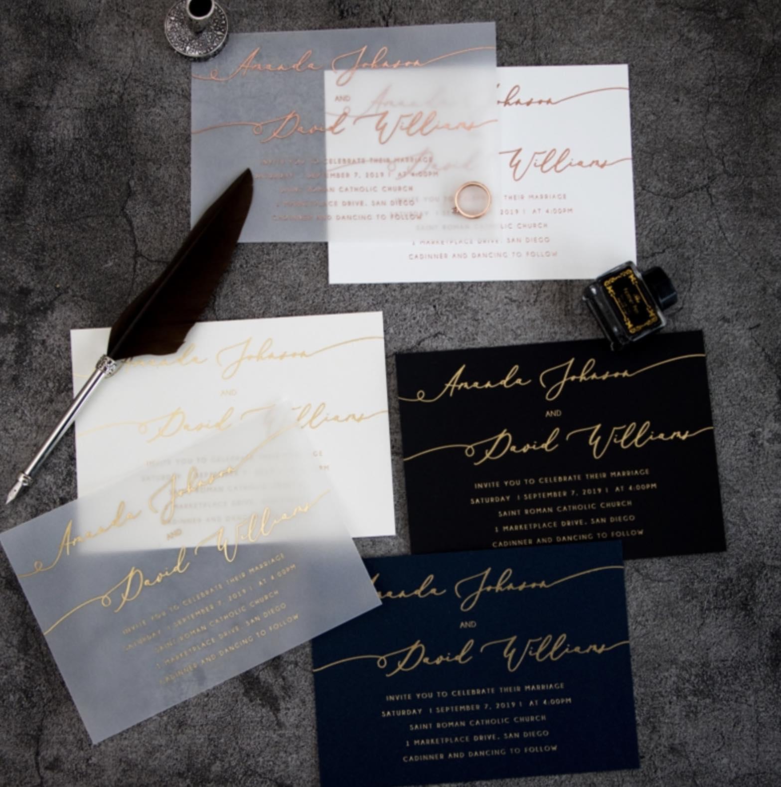 Cartes d'invitation mariage en papier sulfurisé impression dorure à chaud WFSI0023