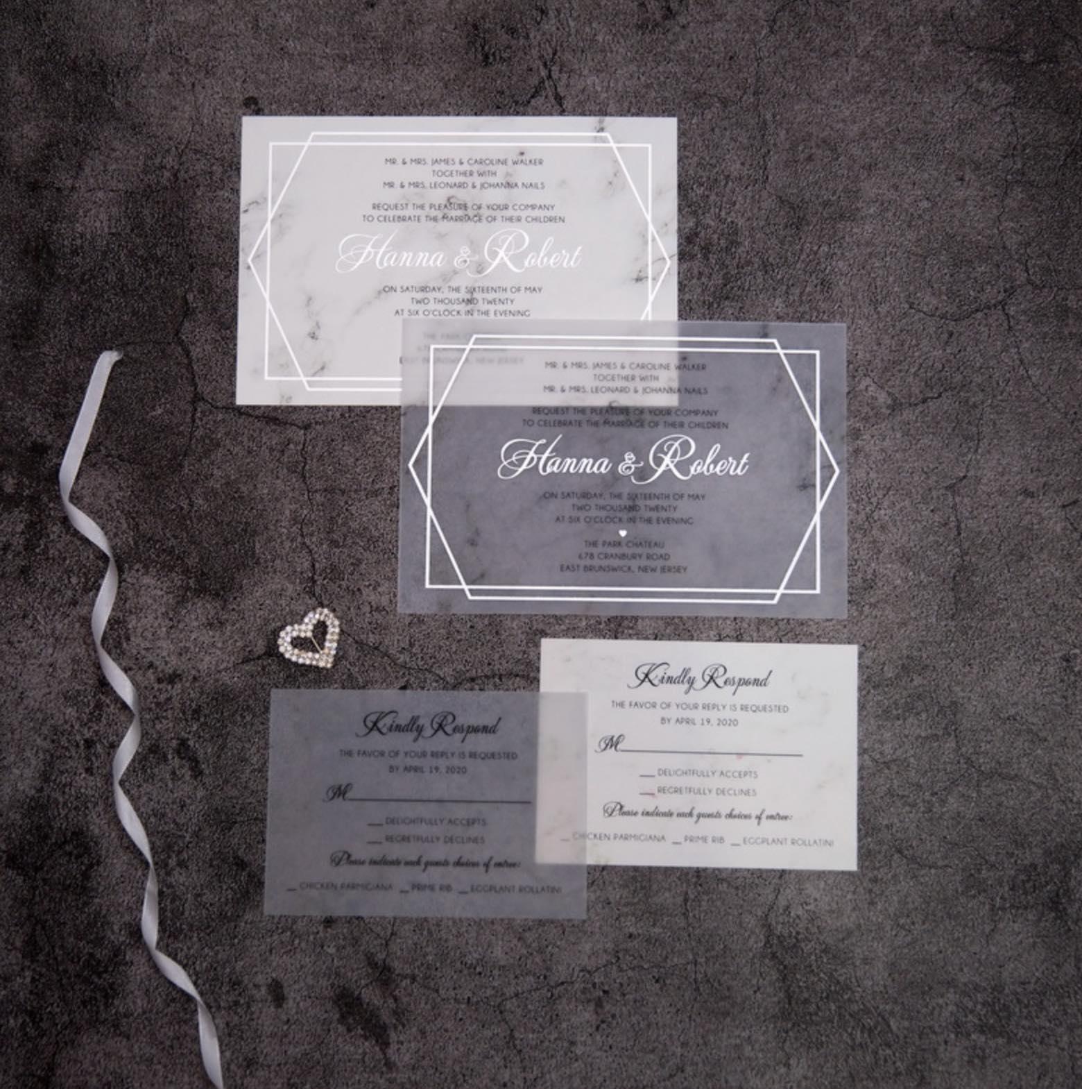 Cartes d'invitation mariage en papier sulfurisé impression dorure à chaud WFSI0024