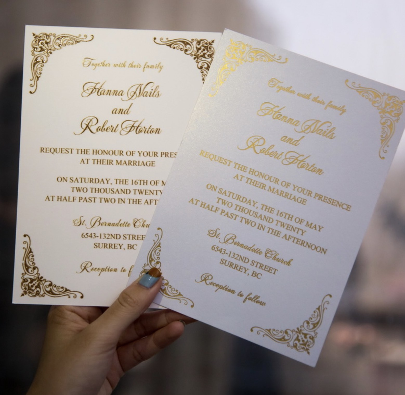 Cartes d'invitation mariage dorure à chaud WFSI0025