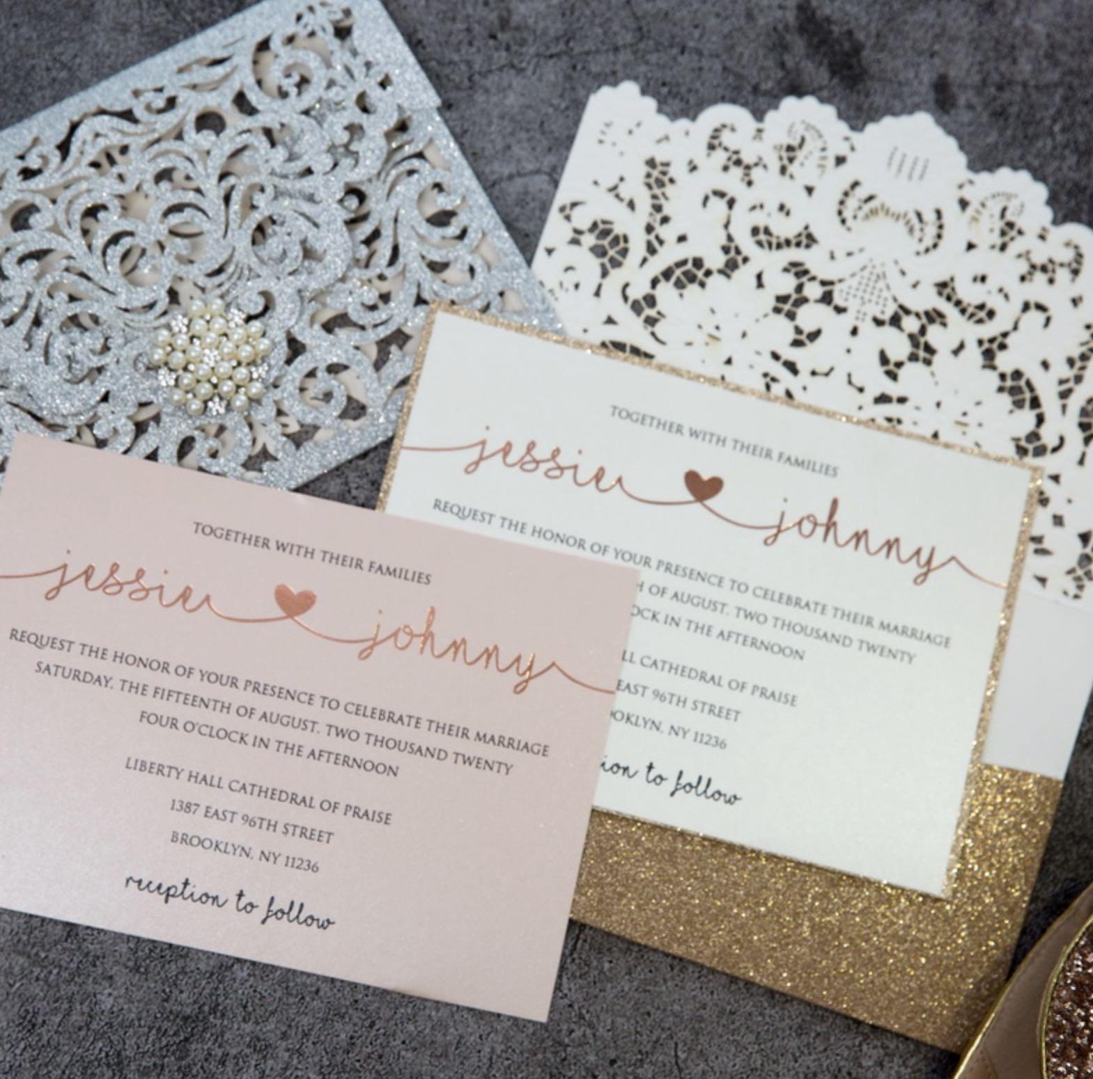 Cartes d'invitation mariage dorure à chaud WFSI0028
