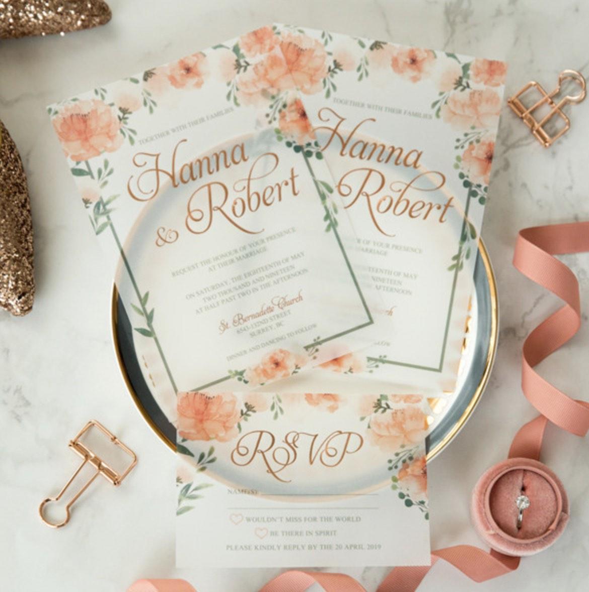 Cartes d'invitation mariage en papier sulfurisé impression dorure à chaud WFSI0034
