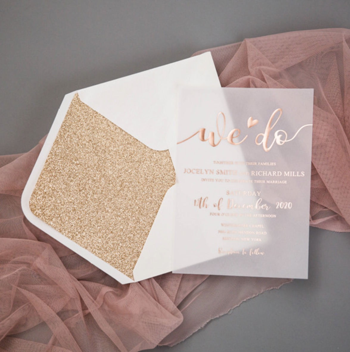 Carte d'invitation mariage en papier sulfurisé impression dorure à chaud WFSI0035