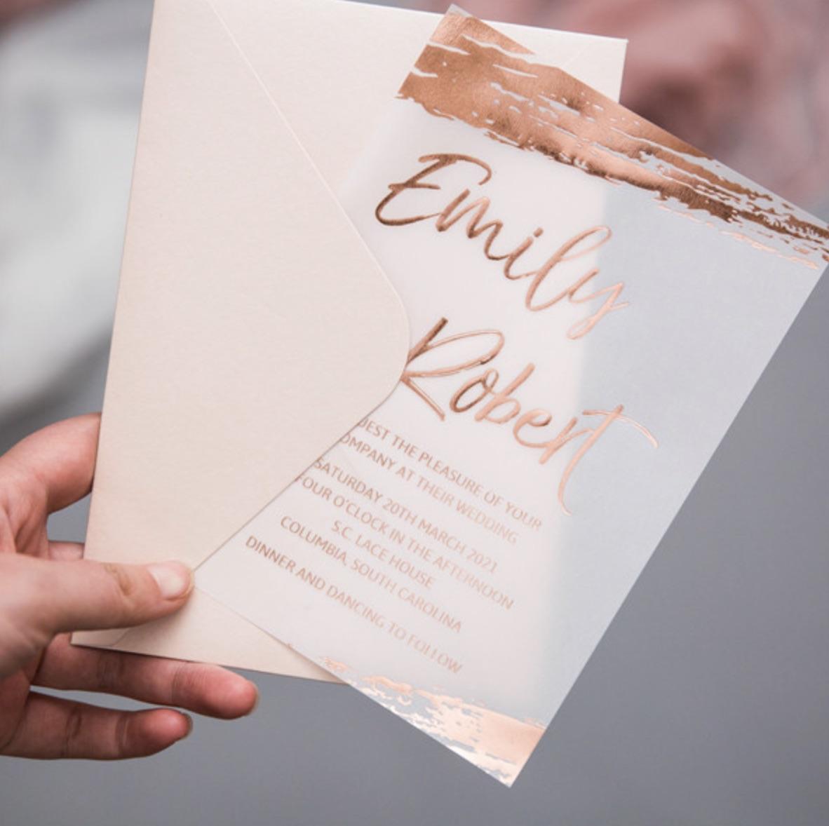 Carte d'invitation mariage en papier sulfurisé impression dorure à chaud WFSI0036