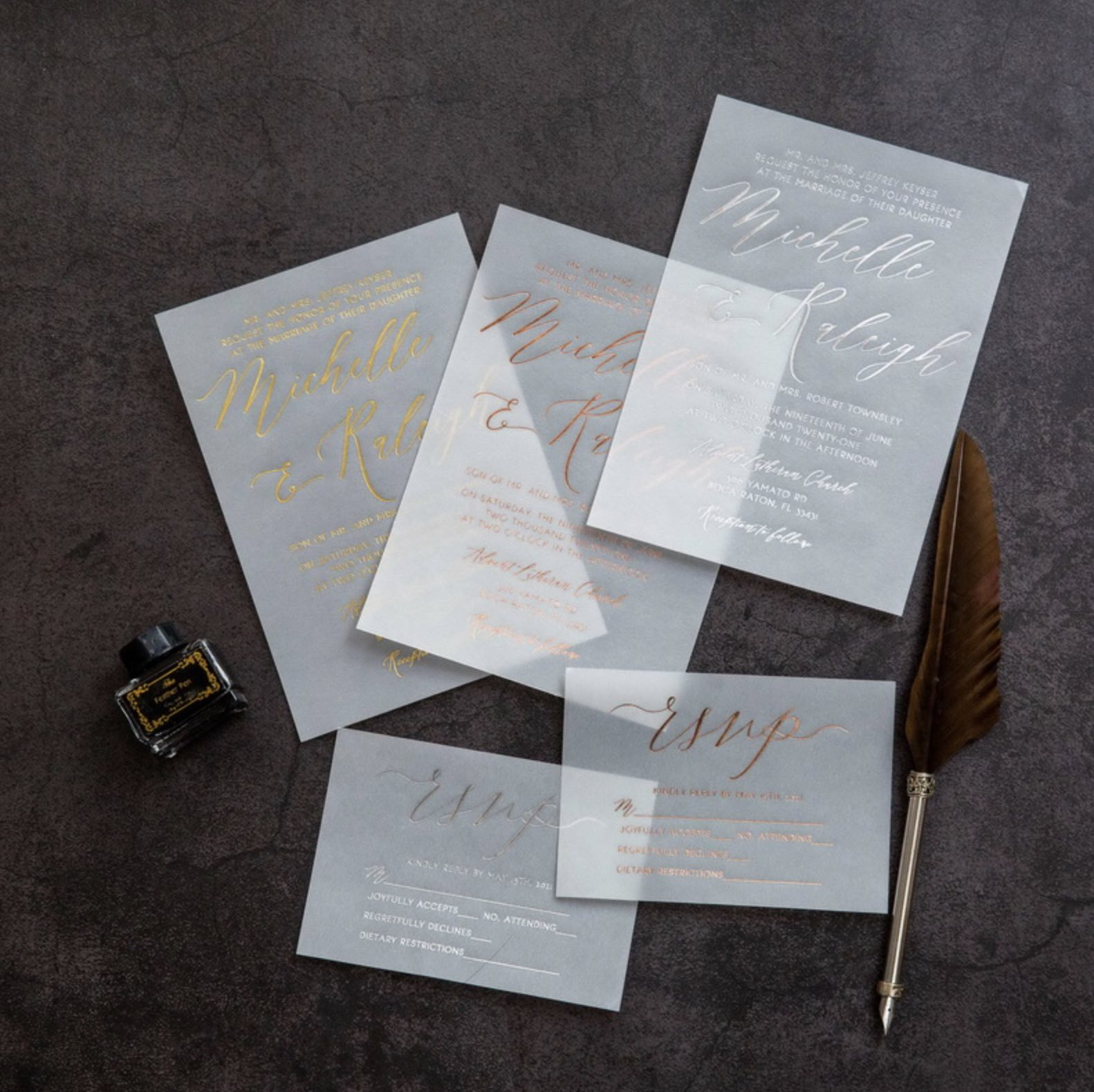 Cartes d'invitation mariage dorure à chaud WFSI0039