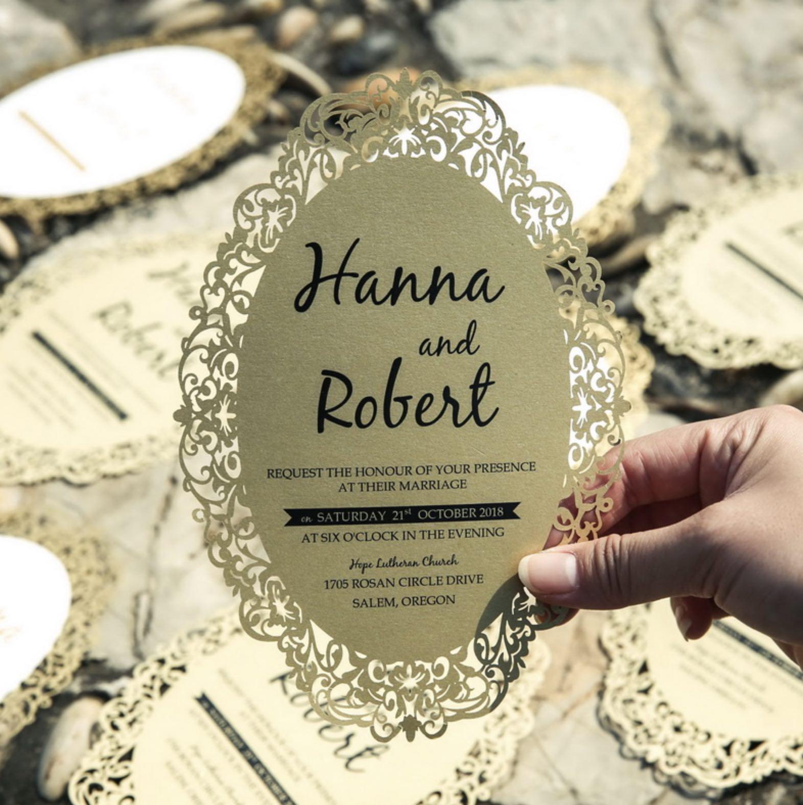 Carte d'invitation mariage ciselée WFL0060