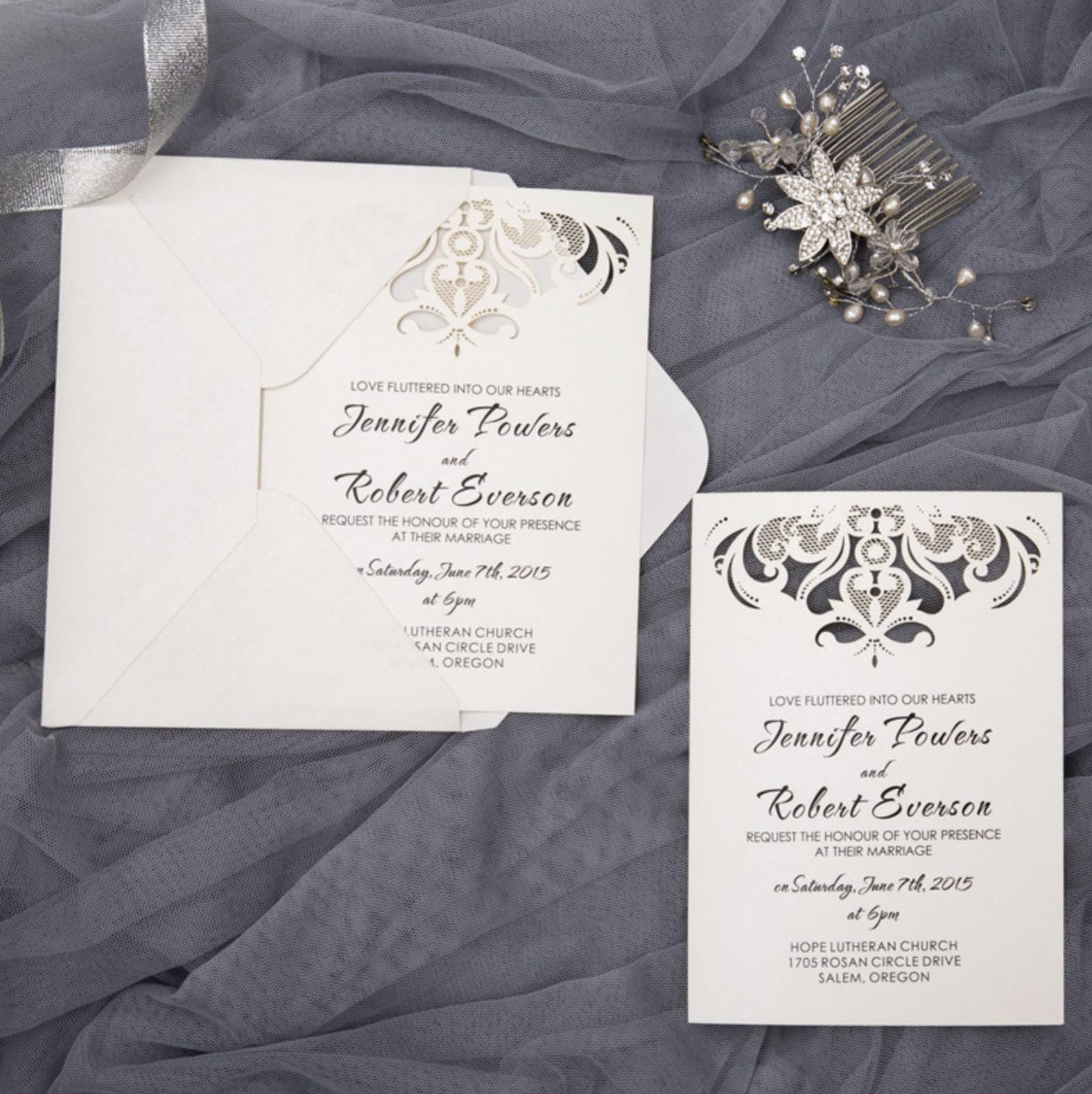 Carte d'invitation mariage ciselée WFL0097