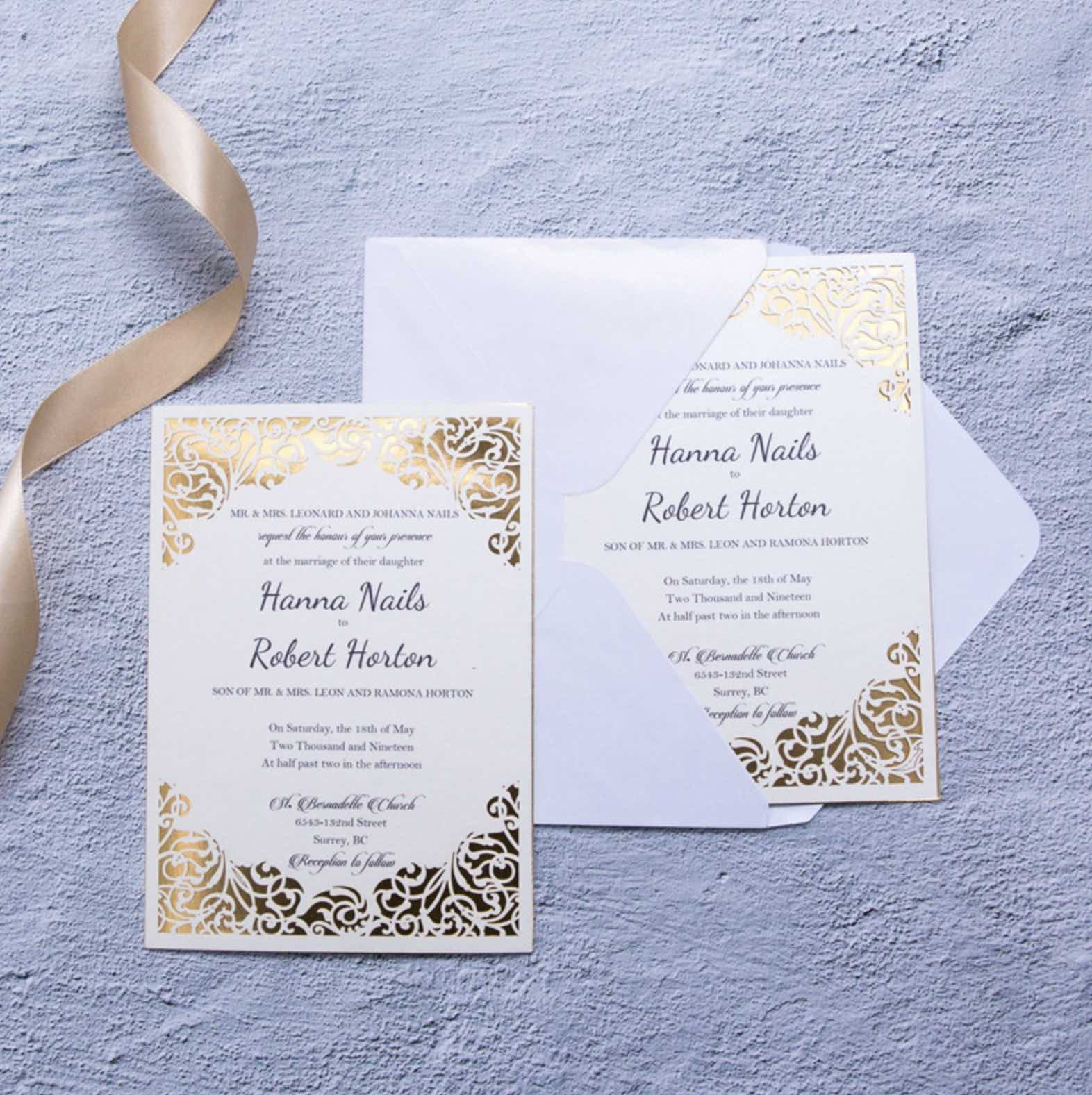 Carte d'invitation mariage ciselée WFL0099
