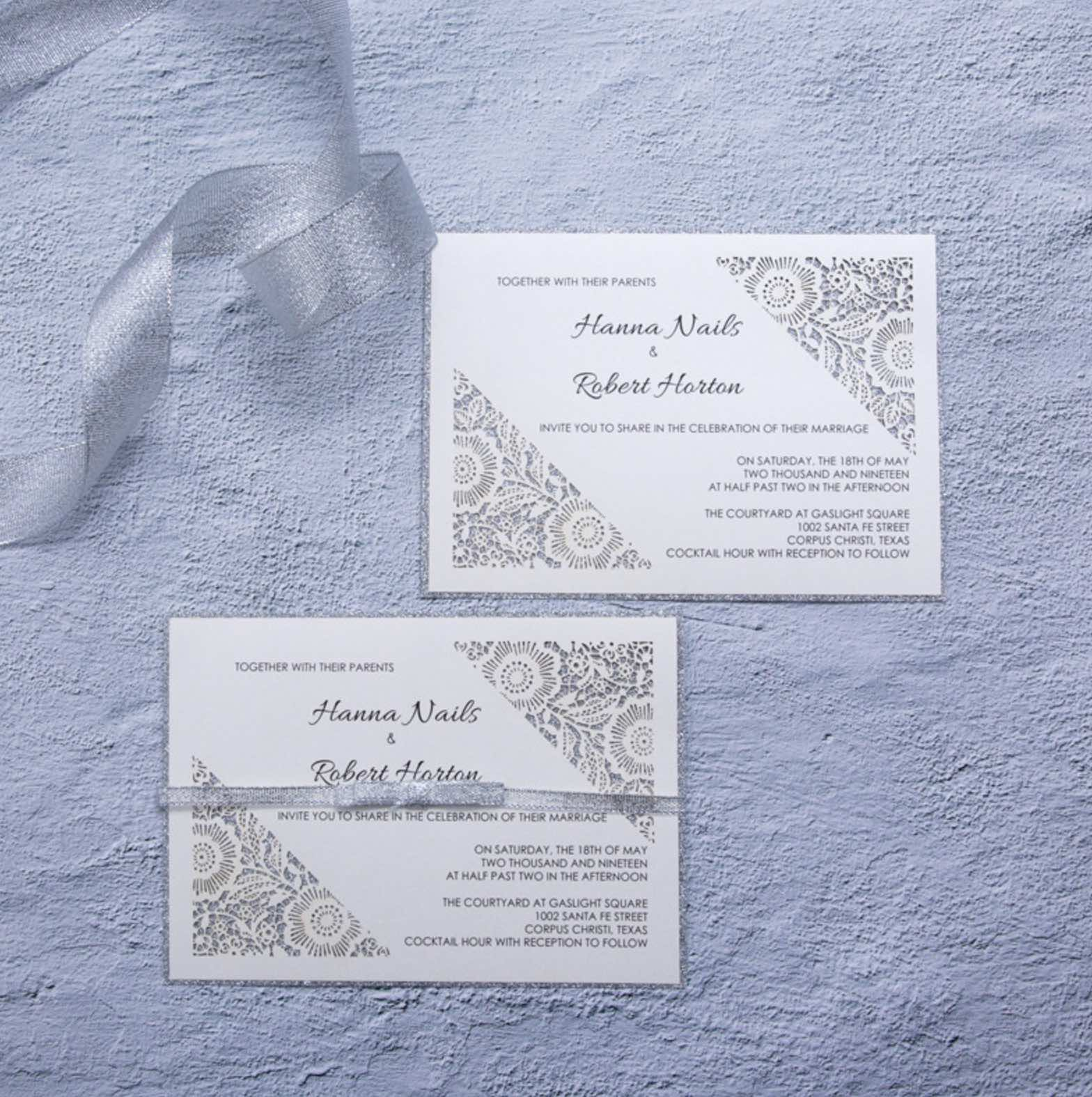 Carte d'invitation mariage ciselée WFL0101