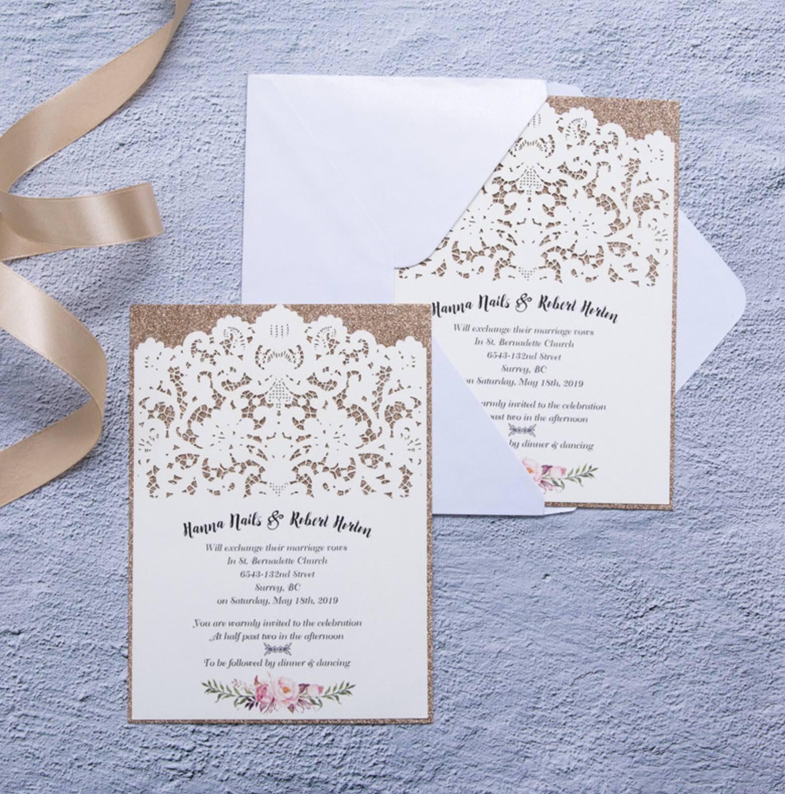 Carte d'invitation mariage ciselée WFL0109
